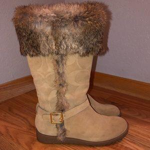 """Coach """"Deeann"""" Fur Trimmed Suede Boots"""